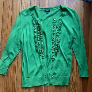 Talbots ruffled green cardigan